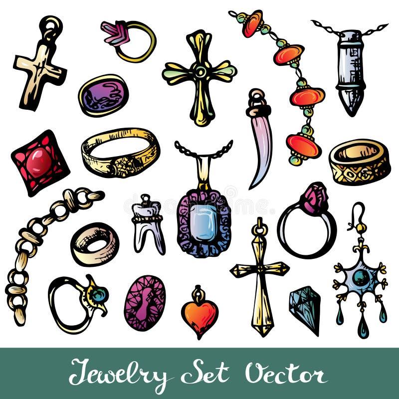 Doodle biżuteria Barwiący set ilustracja wektor