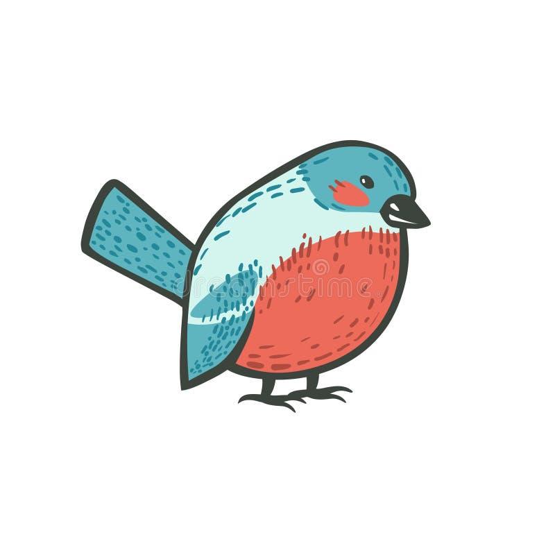 Doodle bird - cute bullfinch. Doodle bird - bullfinch. Vector cute illustration vector illustration