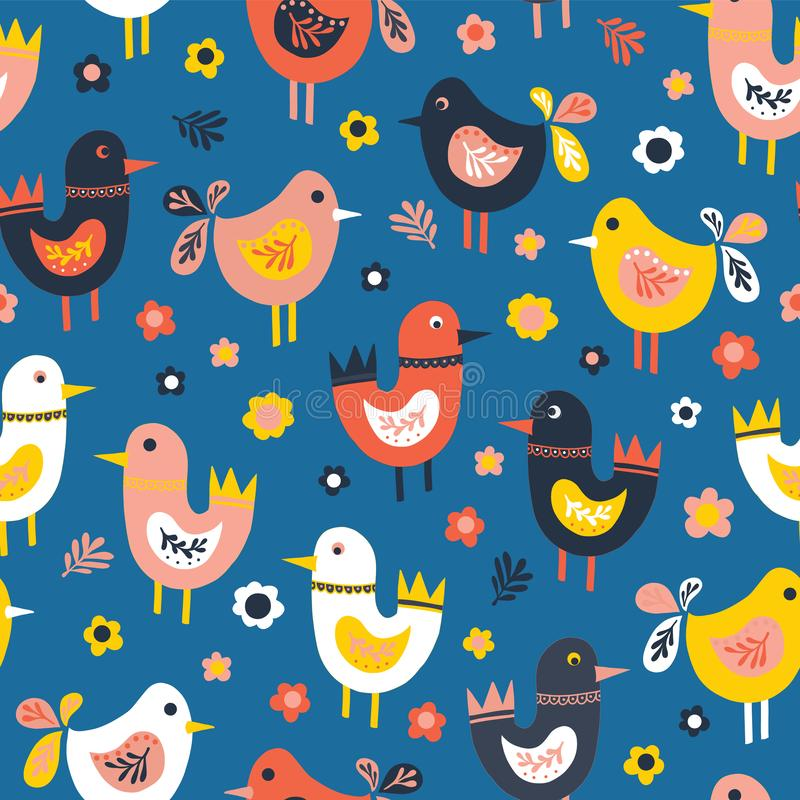 Doodle birds and flowers seamless vector pattern. Scandinavian flat style cute birds red, blue, pink, white. For fabric, kids royalty free illustration