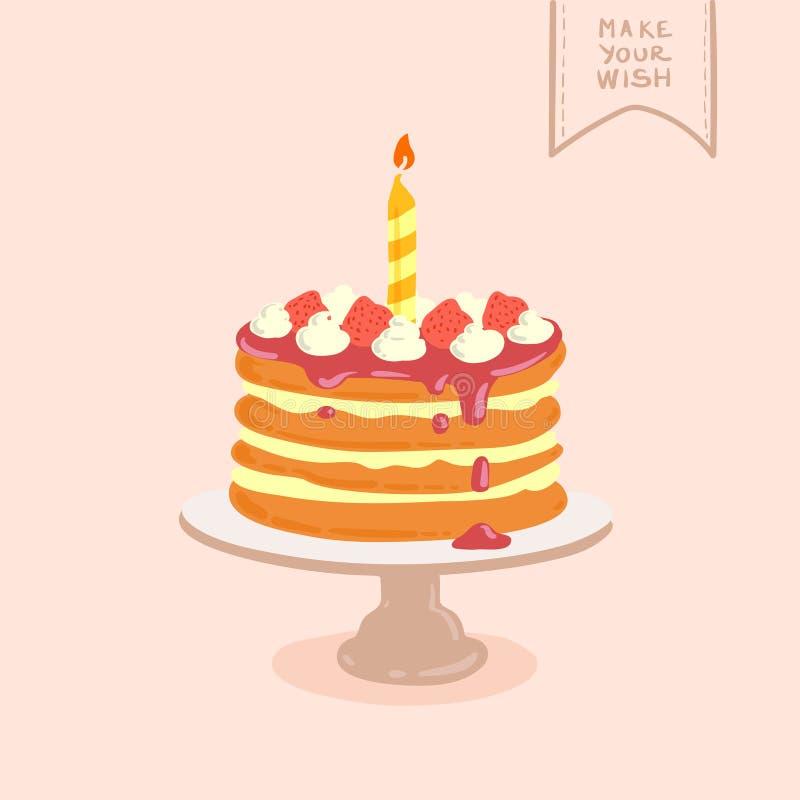 Doodle birthday cake vector illustration