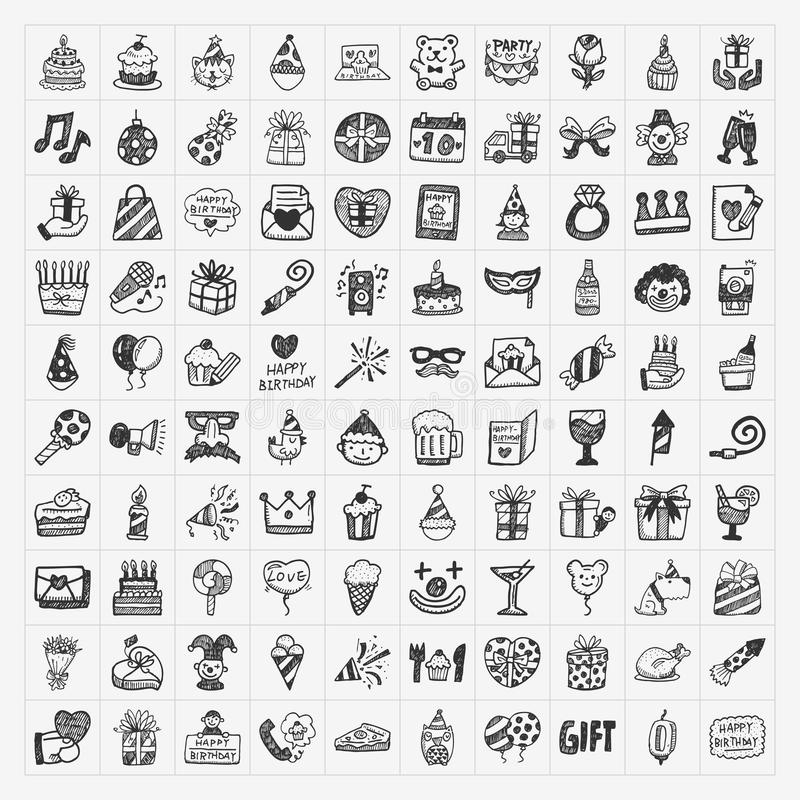 Download Doodle Birthday Party Icons Stock Photo - Image: 36760550