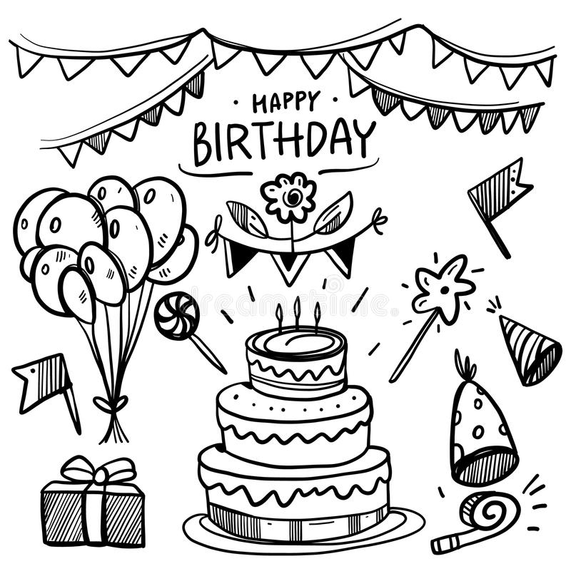 Doodle Birthday party vector set collection. royalty free illustration