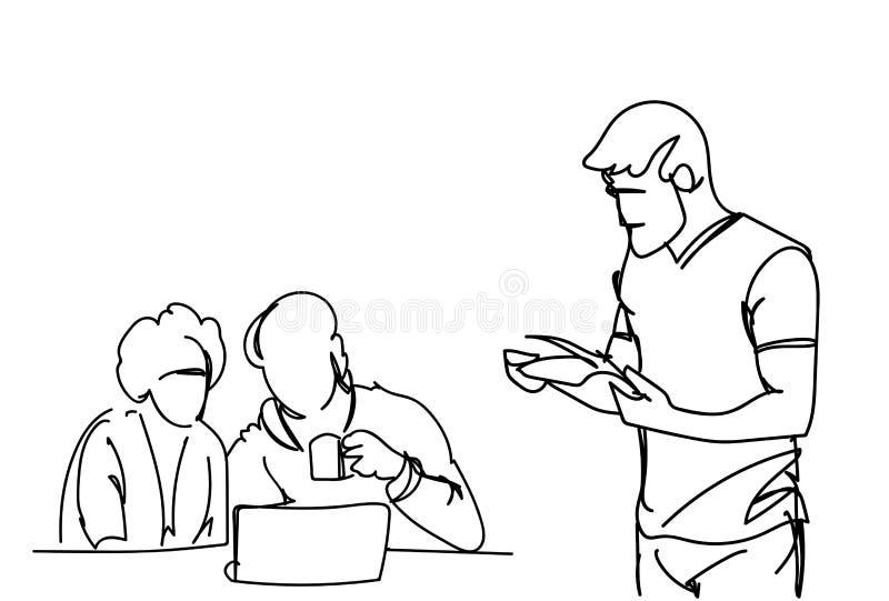 Doodle biznesmeni Na Brainstorming spotkania Biznesowych mężczyzna Pracują Wpólnie Siedzieć Przy Biurowym biurkiem Dyskutują stra ilustracja wektor