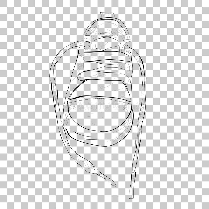 Doodle Black Outline of Toddler Shoes, at Transparent Effect Background. Vector Doodle Black Outline of Toddler Shoes, at Transparent Effect Background vector illustration
