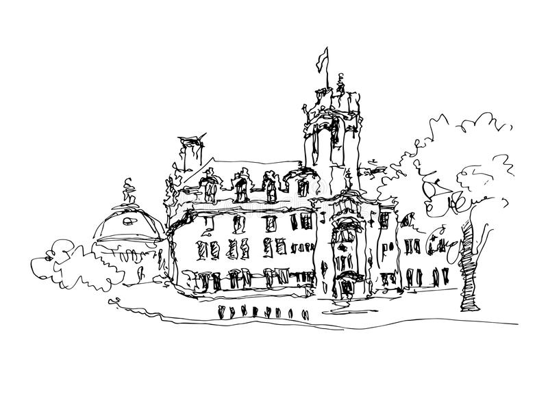 Doodle black and white ink sketch drawing of famous place in Lon stock illustration