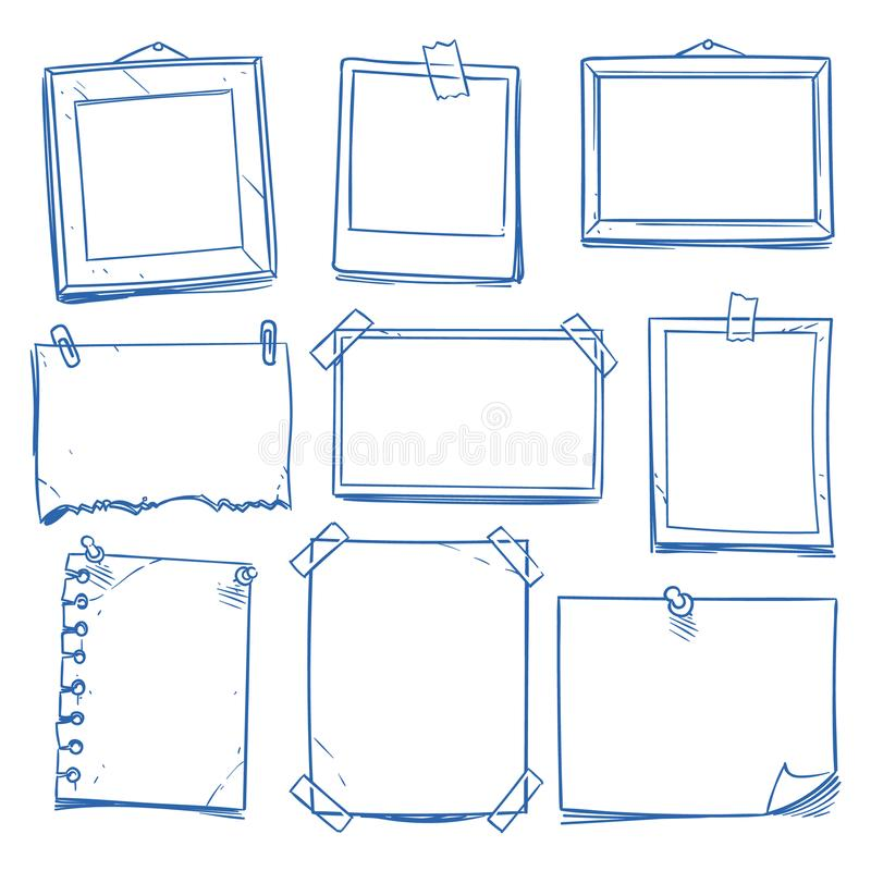 Free Doodle Blank Memo, Notepaper. Hand Drawn School Notice And Photo Frames Isolated Vector Set Royalty Free Stock Image - 118192576