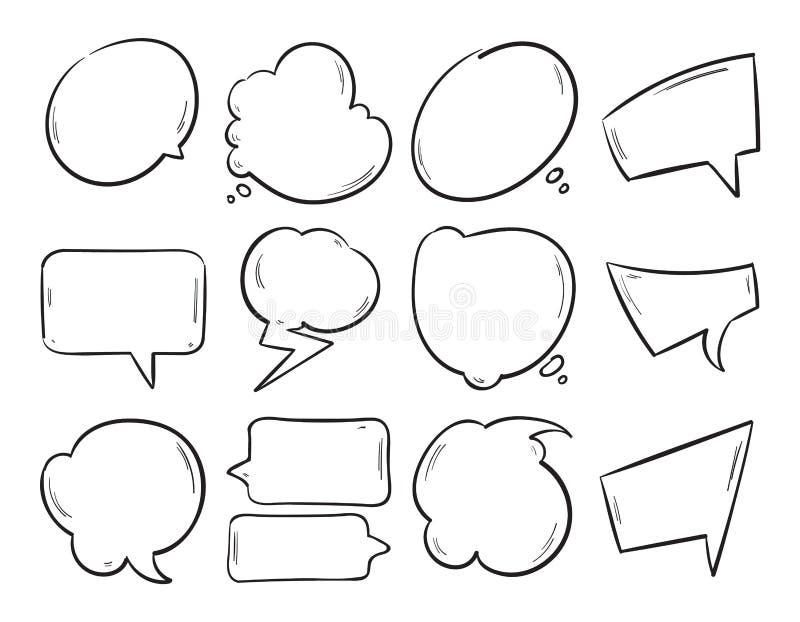 Doodle blank speech bubbles, hand drawn cartoon thinking shapes vector set stock illustration