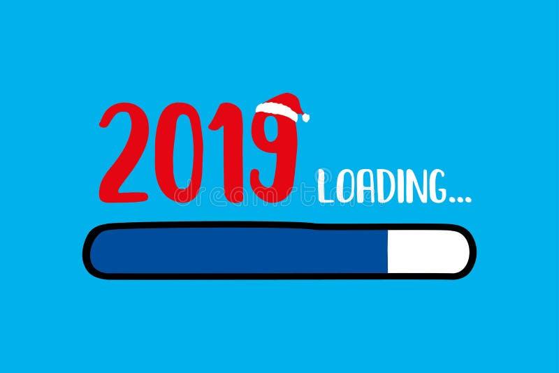 Doodle Blue Download bar,2019 loading text. Vector illustration stock illustration