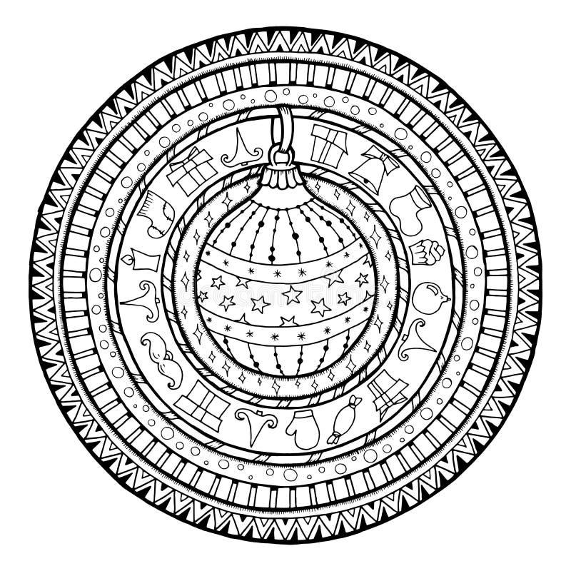 Doodle boże narodzenia balowi na etniczny mandala royalty ilustracja
