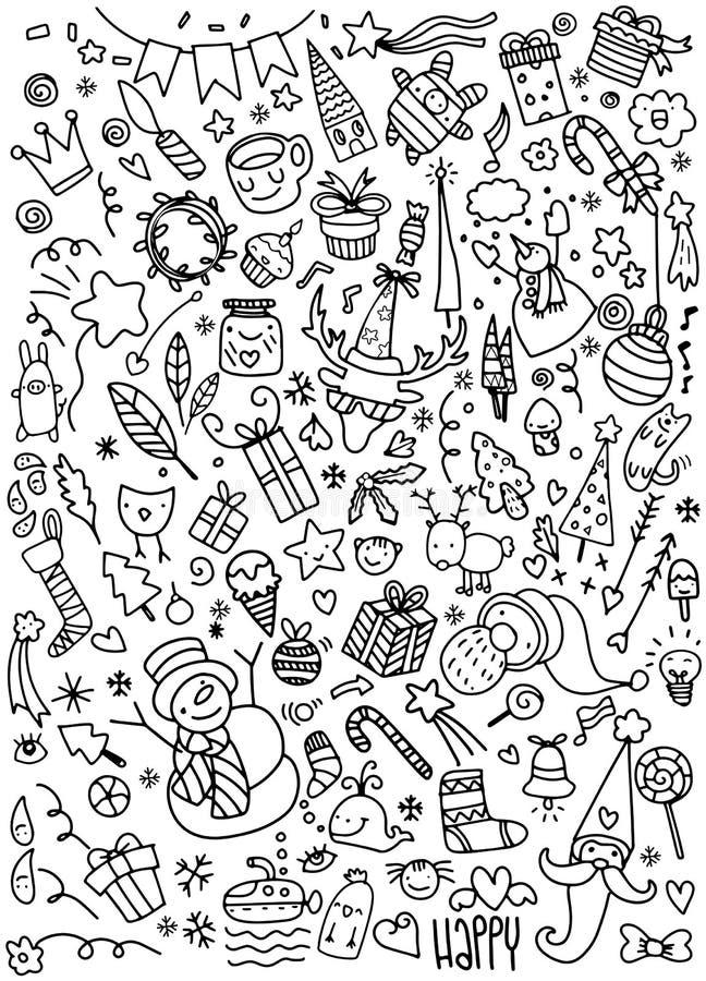 Doodle bożych narodzeń tło royalty ilustracja