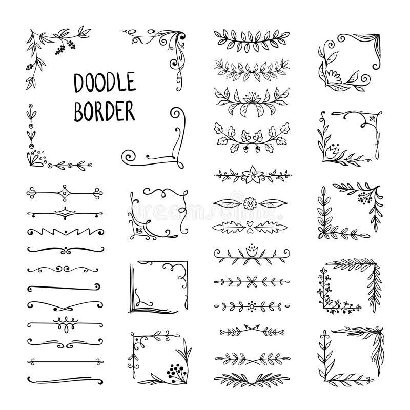 Doodle border. Flower ornament frame, hand drawn decorative corner elements, floral sketch pattern. Vector doodle frame royalty free illustration