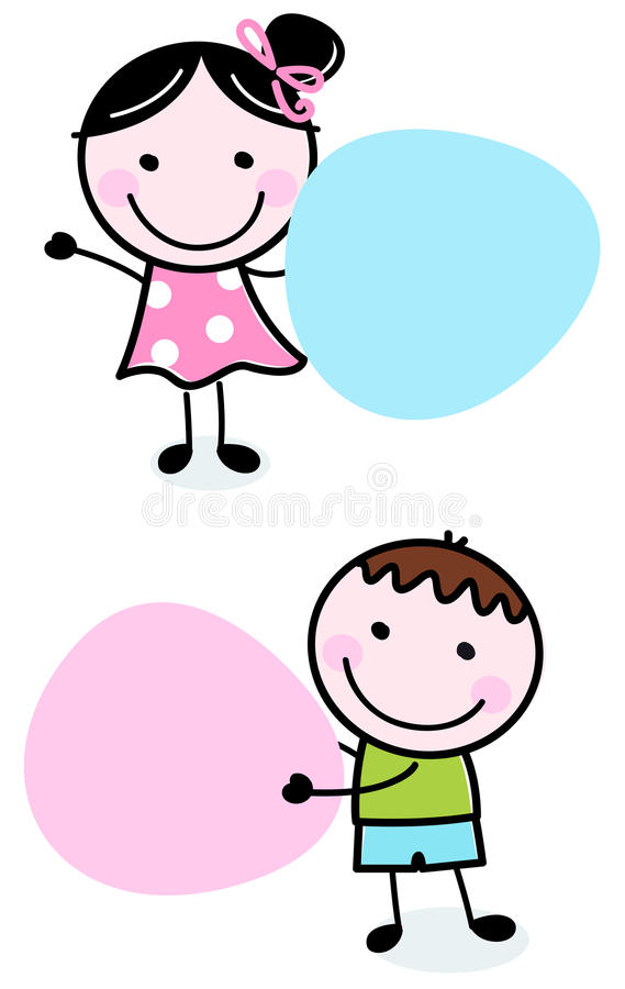 Download Doodle Boy And Girl Holding Blank Banners Stock Vector - Image: 26651433