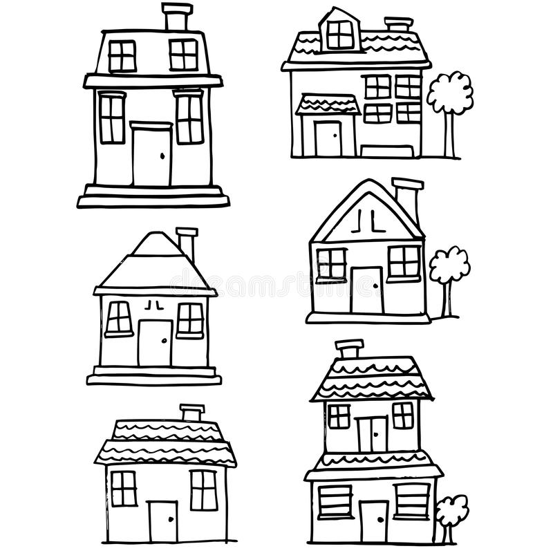 Doodle of building style collection royalty free illustration
