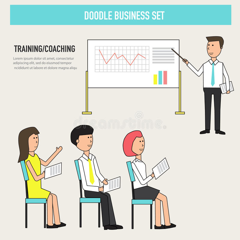 Doodle business coaching in the office improve skill or knowledge for colleagues vector.illustration EPS 10. stock illustration