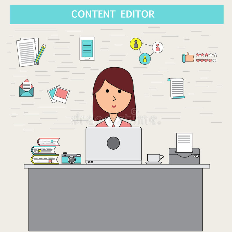 Doodle business digital marketing concept with content editor vector.illustration EPS 10. stock illustration