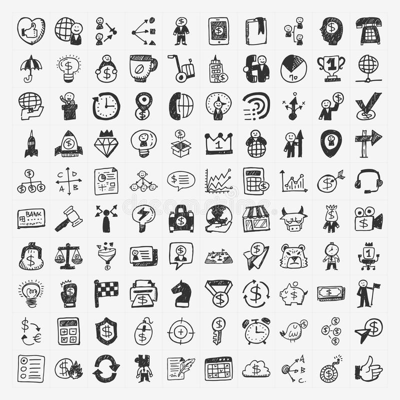 100 Doodle Business Icon Royalty Free Stock Images