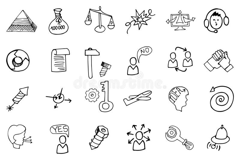Doodle business seo icons.Outline sketches stock illustration