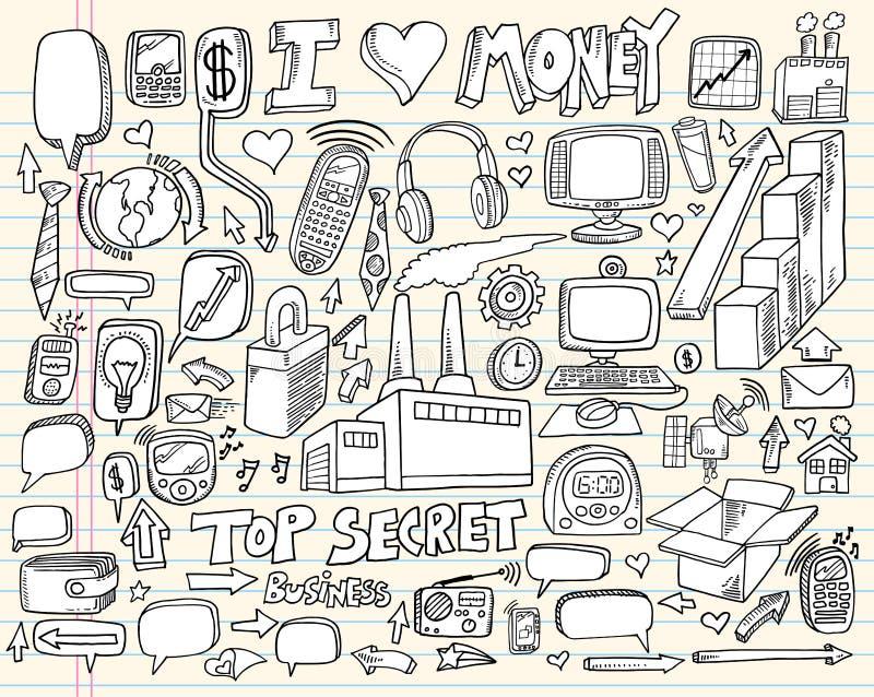 Doodle Business Technology Design Elements royalty free illustration