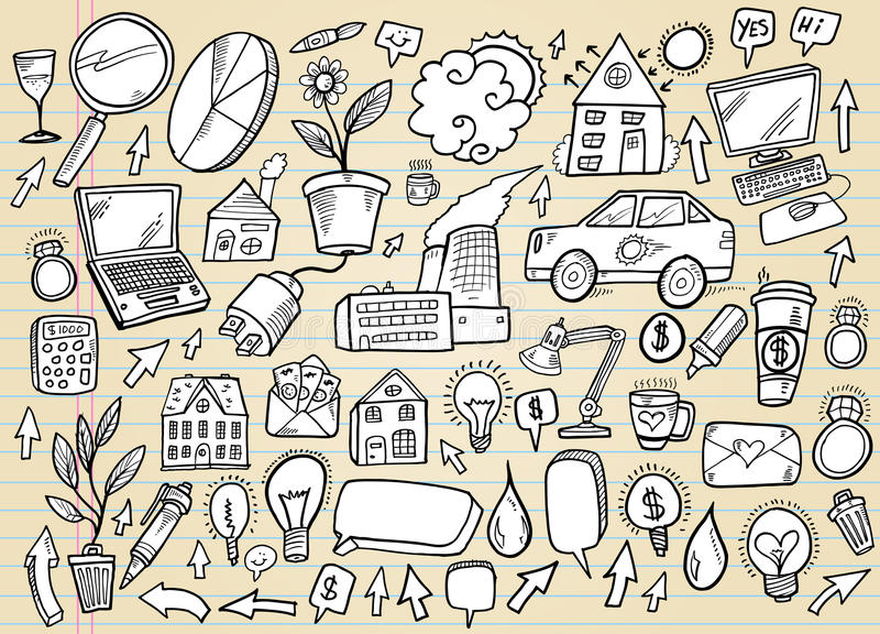 Doodle Business and Technology Set royalty free illustration