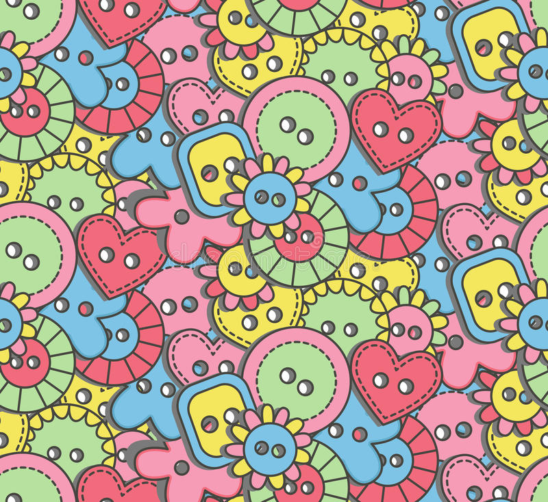 Doodle buttons seamless vector pattern vector illustration