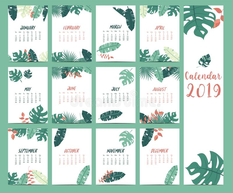 Doodle calendar set 2019 with banana leaf,hibiscus,palm,tree,coconut tree for children.Can be used for printable graphic vector illustration