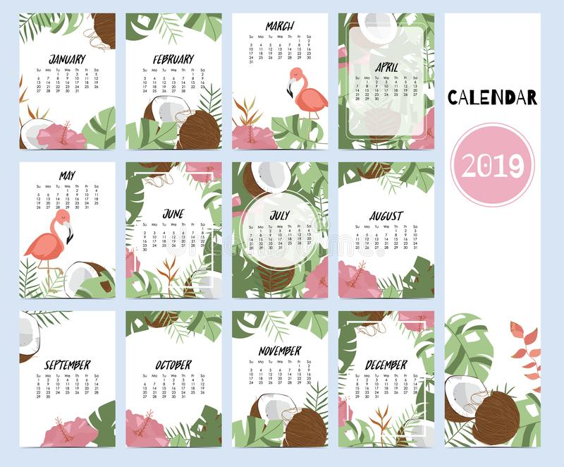 Doodle calendar set 2019 with banana leaf,hibiscus,palm,tree,coconut tree for children.Can be used for printable graphic stock illustration