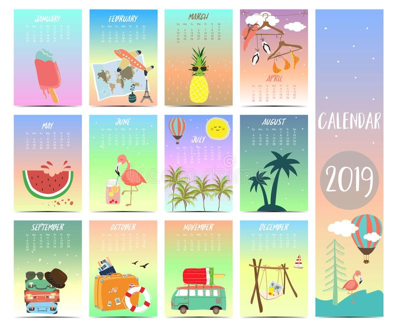Doodle calendar set 2019 with beach,sea,flamingo,pineapple,watermelon for children.Can be used for printable graphic royalty free illustration