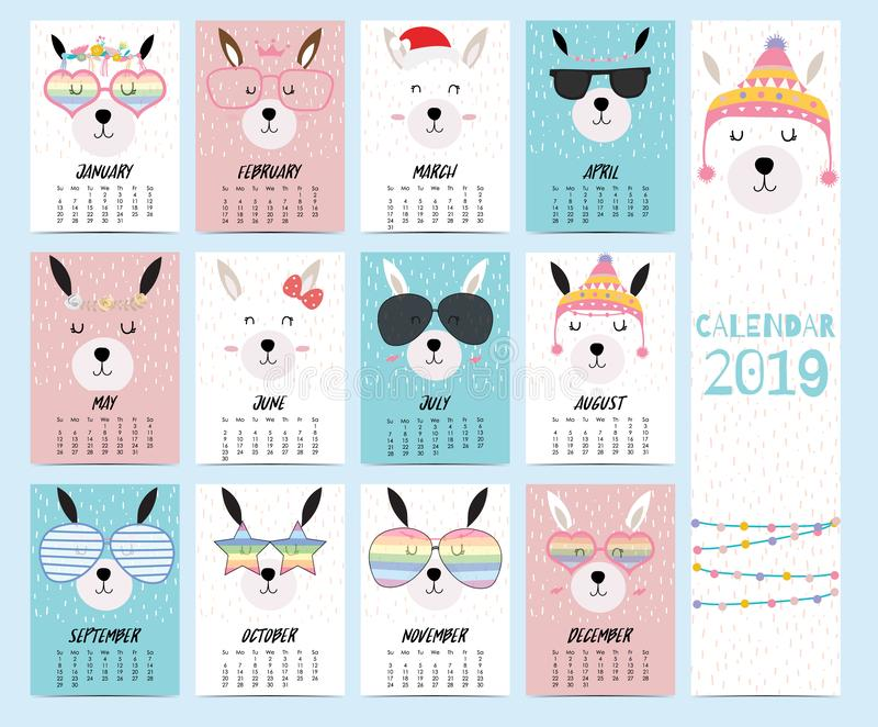 Doodle calendar set 2019 with llama,christmas,glasses,heart,star for children.Can be used for printable graphic stock illustration