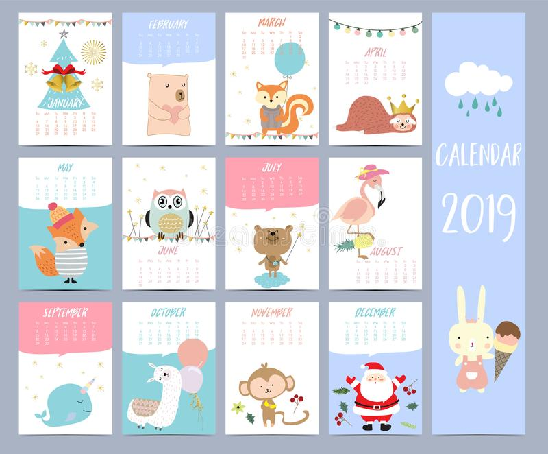 Doodle calendar set 2019 with Santa Claus;christmas tree, bear royalty free illustration