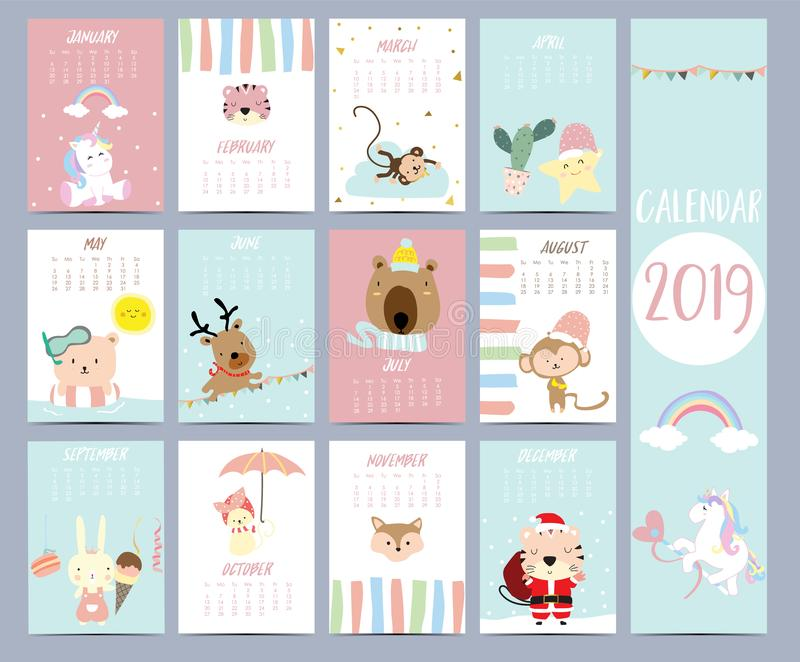 Doodle calendar set 2019 with Santa Claus,unicorn,tiger,monkey,star,cactus,bear,reindeer,rabbit for children.Can be used for royalty free illustration