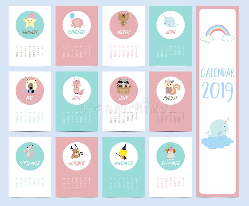 Doodle calendar set 2019 with star,elephant,bear,narwhal,skunk,squirrel,fox,reindeer,duck,cake,rainbow for children.Can be used f stock illustration