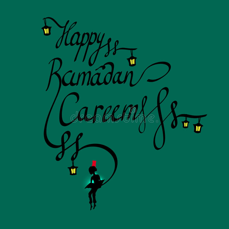 Doodle calligraphy text Happy Ramadan Kareem and a boy reading the sacred book, arabic islamic holy month of muslim. Community, Ramazan-ul-Mubarak celebration stock illustration