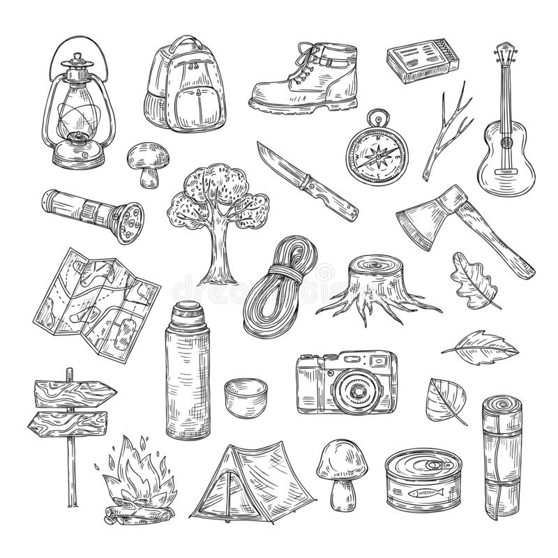 Doodle camping Wycieczkujący obozowego naturalnego drewno harcerza lata przygody plenerowego nakreślenie zarysowywa wektorowe iko ilustracji