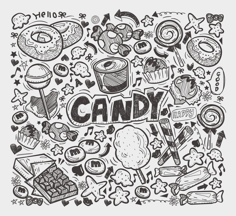 Doodle Candy Elements Stock Photo