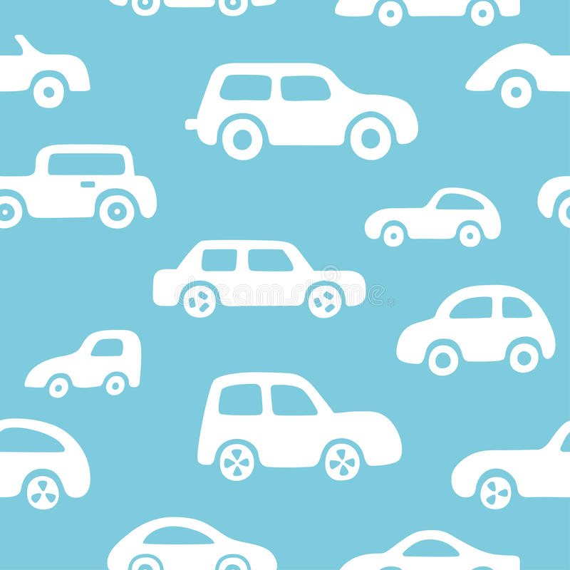 Doodle cars background. Seamless baby boy pattern in vector. stock illustration