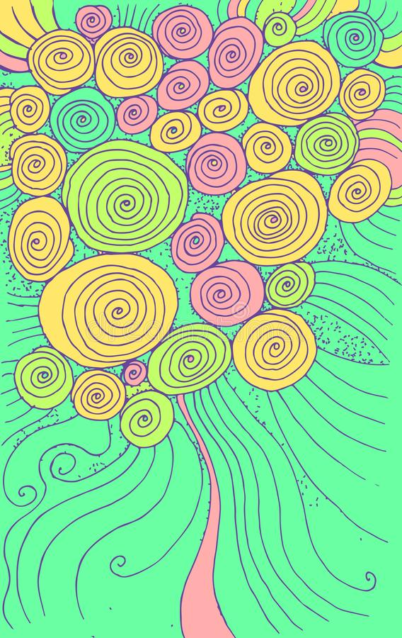Doodle cartoon background with circles and spirals. Hand drawn texture design. Colorful psychedelic abstract drawing. Vector royalty free illustration