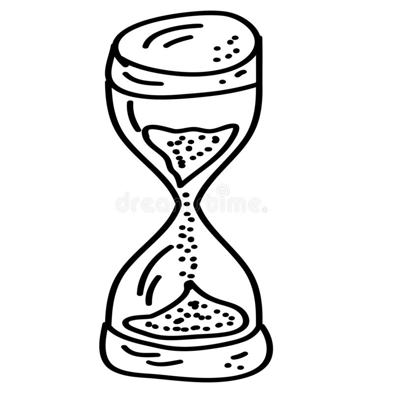 Doodle cartoon hourglass on a white background stock illustration
