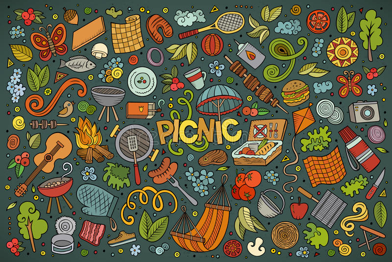 Doodle cartoon set of picnic objects. Colorful vector hand drawn doodle cartoon set of picnic objects and symbols stock illustration