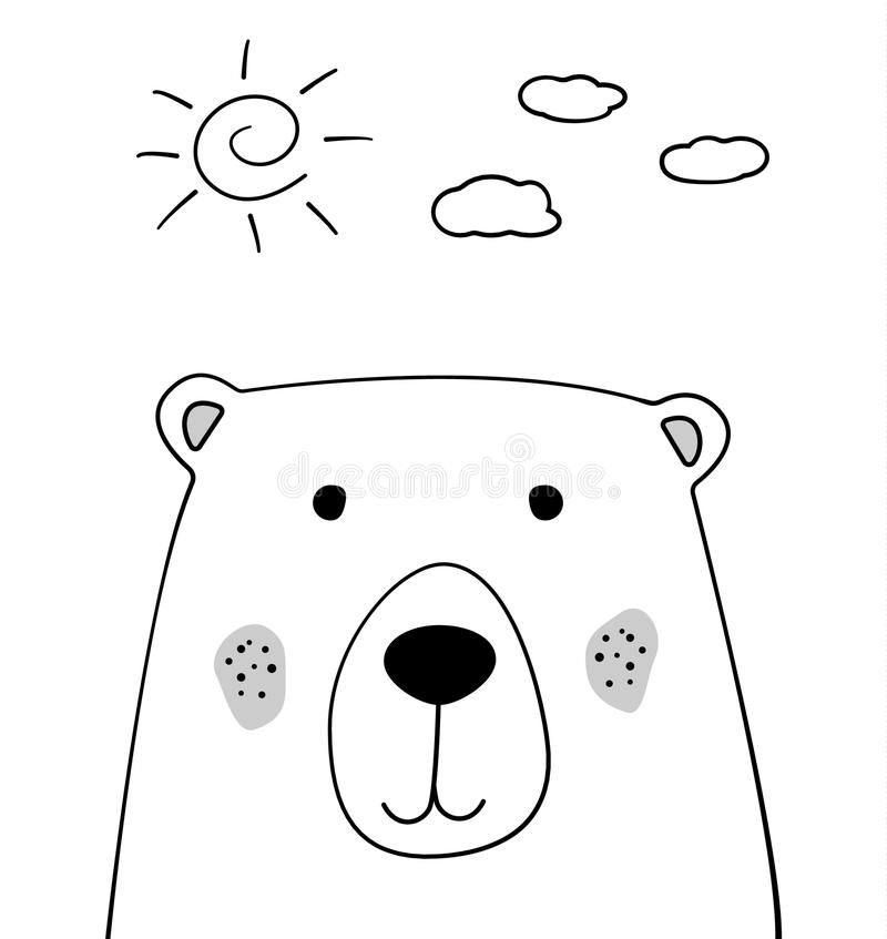 Doodle cartoon sketch bear with sun and clouds illustration. Teddy bear vector. Sky background. Wild animal. Postcard, poster royalty free illustration