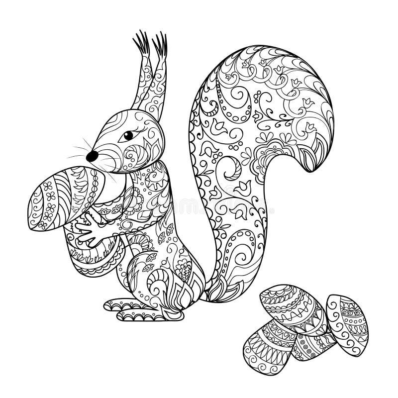 Download Doodle Cartoon Squirrel And Mushrooms Stock Vector