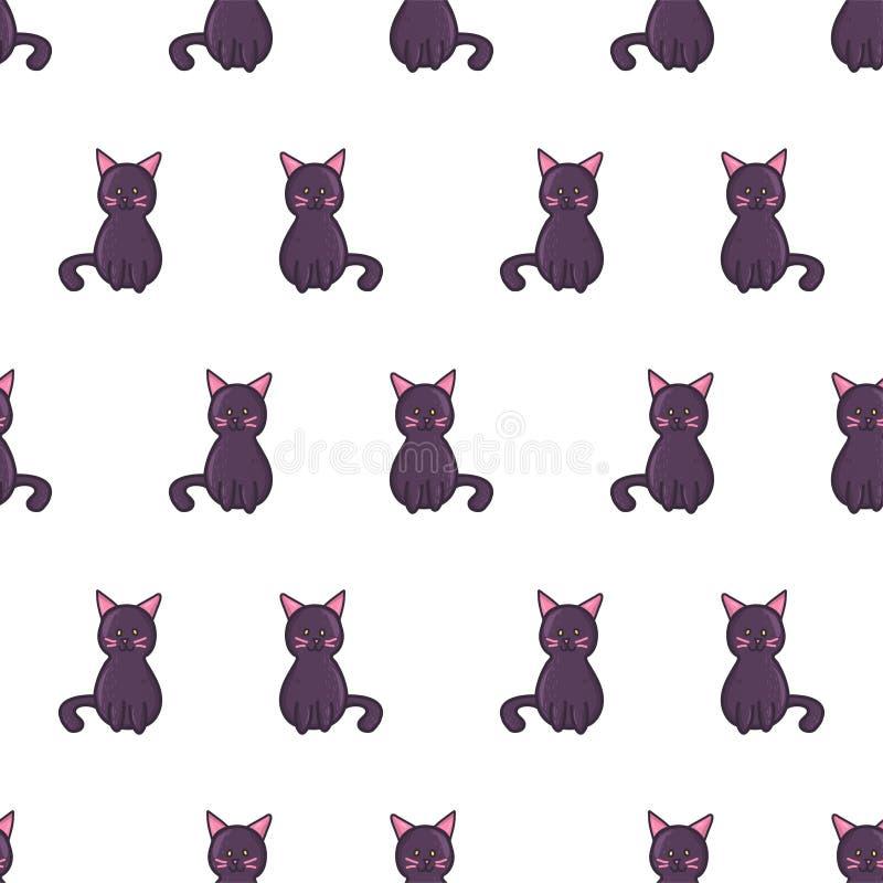 Doodle cartoon style spooky black cat seamless pattern vector illustration