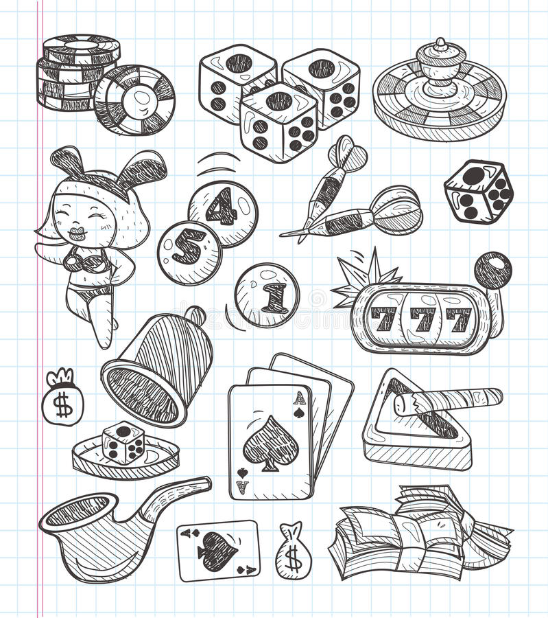 Doodle casino icons. Cartoon vector illustration stock illustration