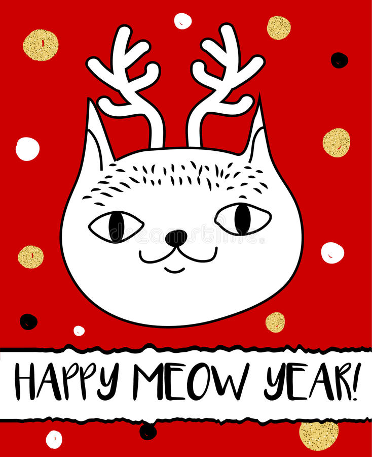 Doodle cat in Christmas deer horns headband. Modern postcard, flyer design template. Seasonal winter new year greeting card vector illustration