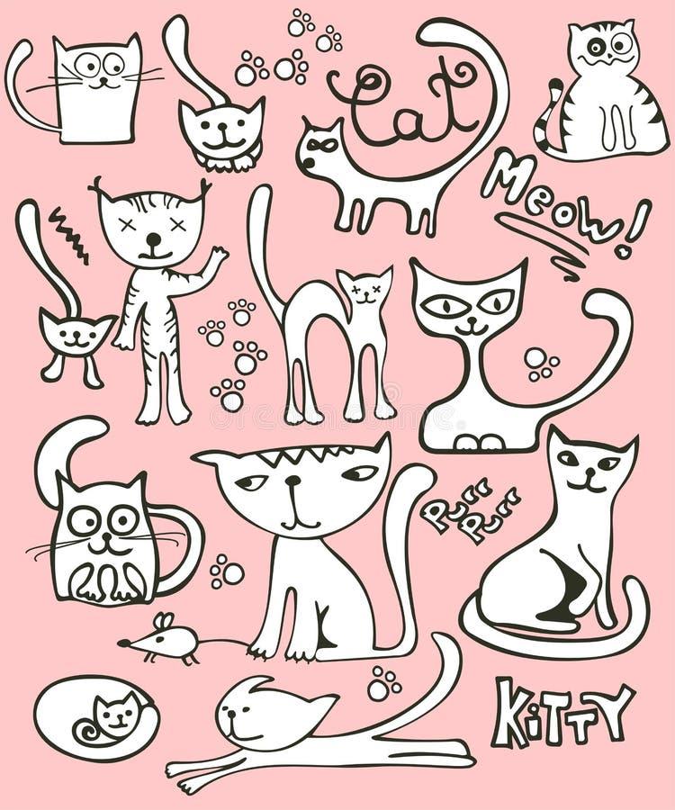 Doodle cat set royalty free stock photos