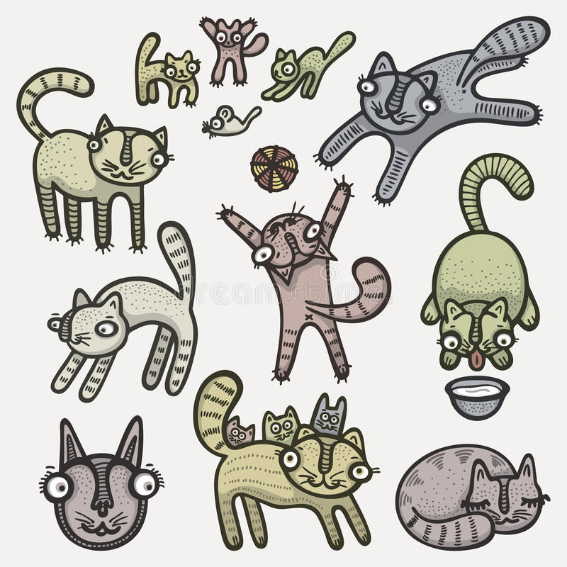 Download Doodle cats stock vector. Image of isolated, drawn, hand - 17085301