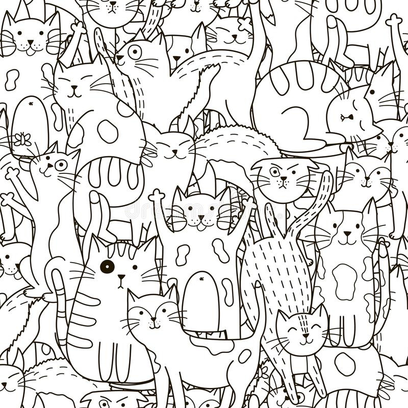 Doodle cats seamless pattern. Black and white cute cats background. Great for coloring book, wrapping, printing, fabric and textile. Vector illustration royalty free illustration