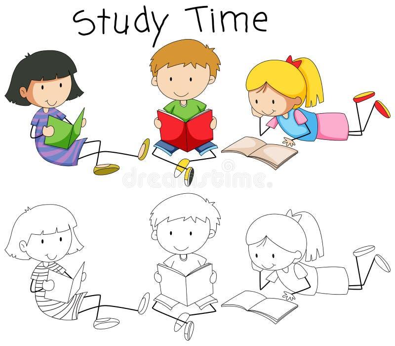Doodle chłopiec i dziewczyny czytelnicza książka royalty ilustracja