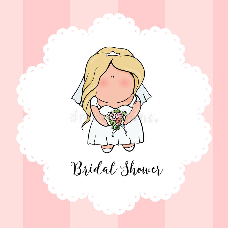 Doodle character. cute bride. Romantic announcement for bridal shower party. invitation or congratulation card stock illustration