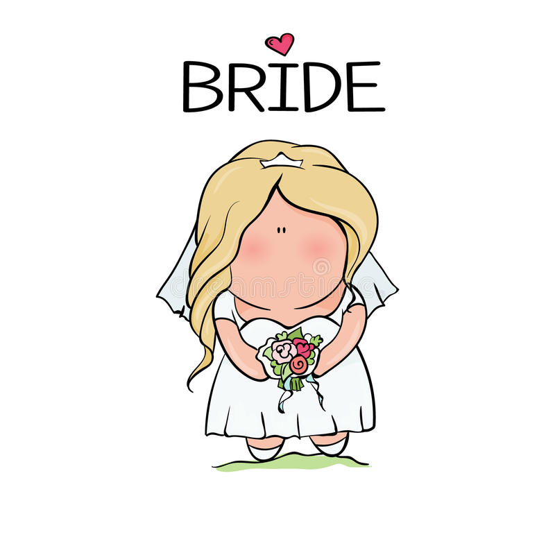 Doodle character. cute bride. template for print stock illustration