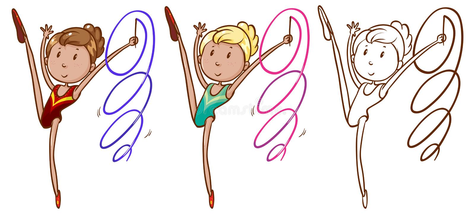 Doodle character for girl doing gymnastic with ribbon. Illustration royalty free illustration
